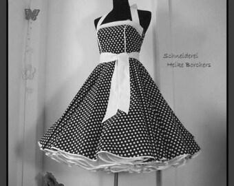 Petticoat Dress Gilda, black, White, Rockabilly Dress, Dress, Confirmation Dress, Promotional Dress,  Dance Dress, Neckholder Dress
