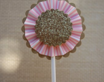 Cupcake Toppers, Pink and Gold , Pink and Gold Party , Cupcake Toppers, Paper Rosette, Glitter Cupcake Toppers