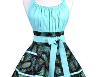 Flirty Chic Pinup Apron - Aqua Turquoise and Royal Blue Peacock Plume Feather Apron - Womens Sexy Cute Retro Kitchen Apron - Monogram Option