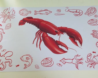 Red Lobster disposable paper place mats clambakes beach party lobster fest