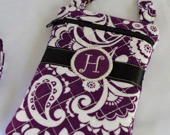 Custom Cross Body Cell Phone Bag/Credit Card Bag/Small Zipper Pouch....Corinne Collection