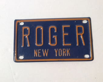 Vintage Mini License Plate New York ROGER