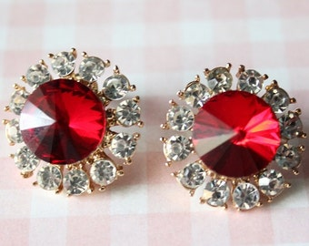Handmade Faux Crystal Metal Stud Earrings