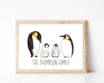Penguin Family Portrait - Custom Family Tree Print - Nursery Wall Art - Personalised Family Portrait - A4 Penguin Family Art Print