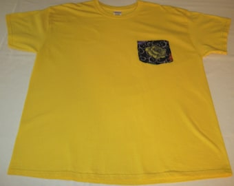 Yellow T-Shirt with Fleece Yellow Rose Pocket
