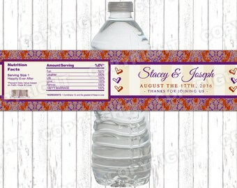 10 Red and Plum Damask and Hearts Vintage New Mr and Mrs Wedding Water Bottle Labels - Peel-n-Stick