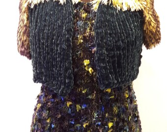Bolero from Chenille and Fellgarn. different colors possible. Evening wear. To order.