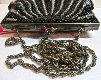 Vintage Beaded Evening Bag Purse Metal Frame Bags by Michael Warren Reed Inc Original Tags