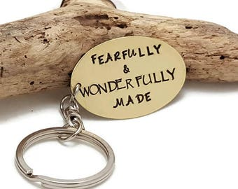 Fearfully and Wonderfully Made keychain - Scripture key chain - Personalized key chain - Custom keychain - Religious key chain