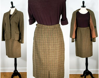 Vintage Wool Suit, Scottish Workwear Wool Plaid Jacket and Pencil Skirt Suit Set by Florence Walsh, Two Piece Suit Size Medium Suit