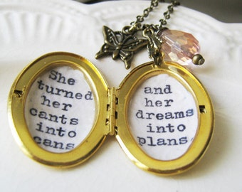 Inspirational necklace Locket jewelry she turned her cants into cans her dreams into plans necklace for women quotes jewelry