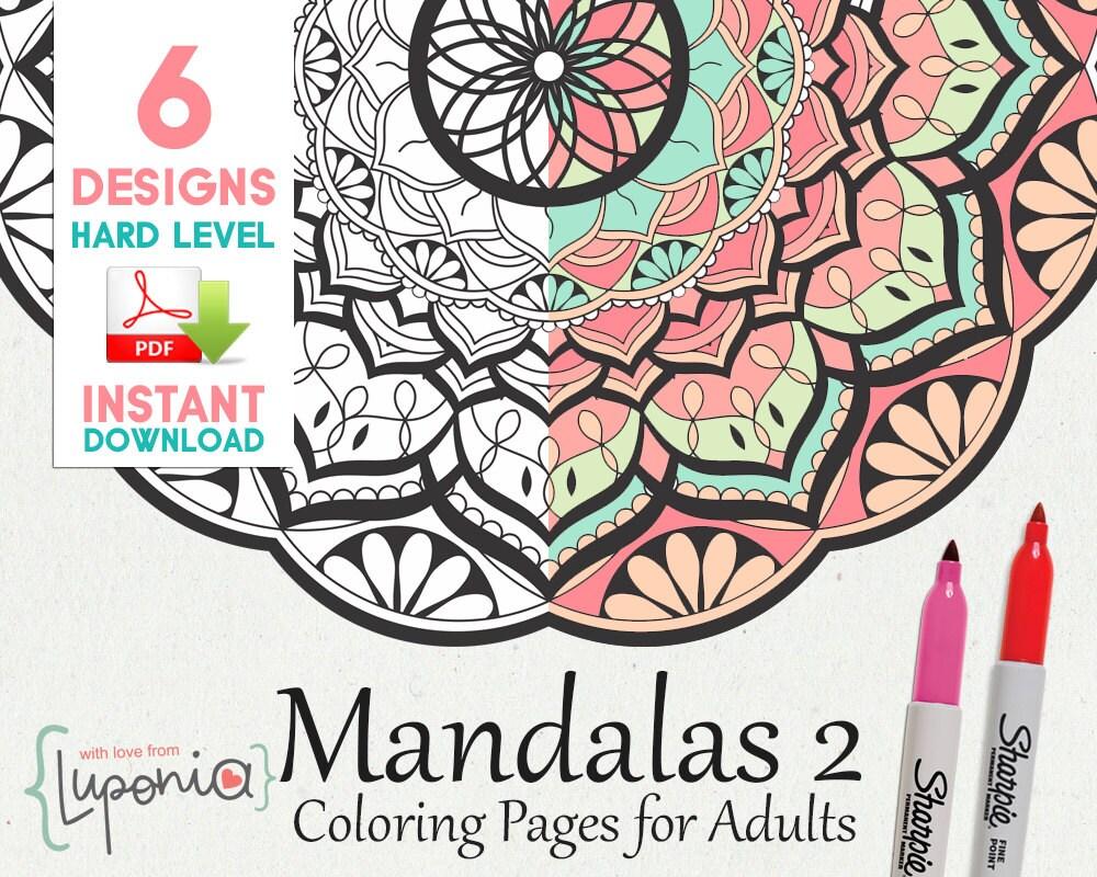 6 Mandalas para Pintar Dificil Libro para colorear