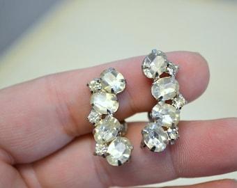 1950s Rhinestone Screw Back Earrings