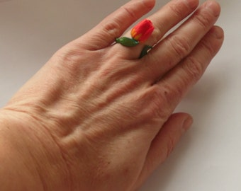 Tulip ring tulip jewelry polymer clay jewelry red flower gift for her red jewelry floral jewelry flower jewelry floral ring red tulip