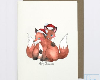Foxes In Love Christmas // Illustrated Greeting Card
