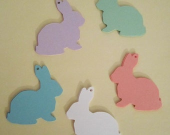Rabbit Shape Tag Spring Easter Bunny Wonderland Hare Pastel Colors Set of 25 Holiday Gift Tags, Basket Labels Color Options