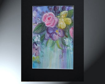 Flowers Watercolor Painting Original Artwork Black Matted to 12 x 16 Floral Artwork