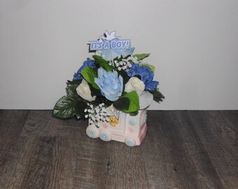 Blue Rose Small Baby Boy Floral Arrangement in Ceramic Baby Train Vase, Its a Boy Sign, Baby Shower Arrangement SAF1002