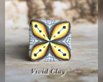 Polymer clay cane, yellow fade square