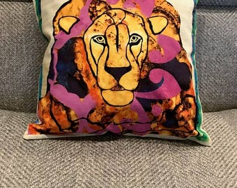 Multicolored Lion Pillow Cover