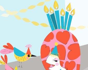 Turtle and bird art print,cute animal decor,turtle illustration,colorful wall art,nursery art  illustration,Children Art Print,Kids Wall Art