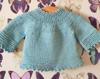 Knitting Pattern Tunic Sweater - Tilly a Seamless Top Down Jumper (6 Sizes, 0 - 7 yrs) Worsted Aran yarn