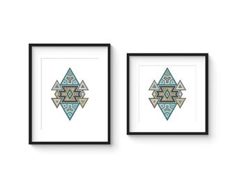 TILE no.33 - Abstract Modern Geometric Turkish Boheme Style Tile Art Print