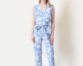 Blue Abstract Print Jumpsuit Vintage Cotton Romper Playsuit Onesie XS S M