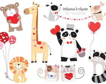 Woodland Valentine's clipart, valentine day clipart ,woodland clipart Instant Download PNG file - 300 dpi