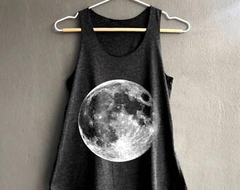 Full Moon Shirt - Moon Phase Shirt - Moon night Tank Top - Dark Gray Womens