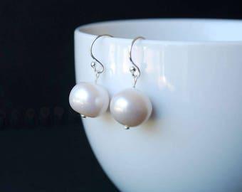 Classic Freshwater Pearl Earrings, 11-12mm Freshwater Potato Pearl Earrings, Sterling Silver Ear Wires