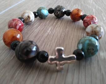 Natural River Shell Bead Bracelet, Rosary Bracelet, Stretch Fashion Bracelet, Christian Bracelet