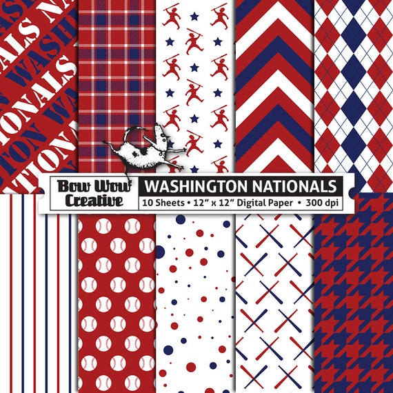 10 Washington Nationals Digital Papers For Scrapbooking Digital