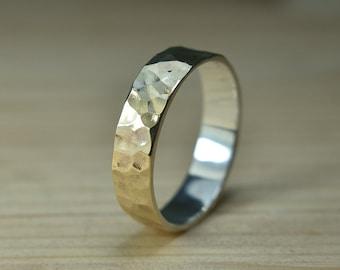 Mens Hammered 9k Gold Ring, Hammered 9k Gold Wedding Ring, Hammered 9k Gold Band, Hammered 9k Gold Wedding Band for Man, Gold Wedding Band