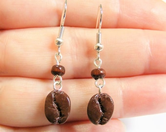 Food Jewelry Coffee Bean Earrings, Coffee Lover Earrings, Coffee Jewelry, Miniature Food Jewellery, Mini Food Jewelry Cup of Coffee charm