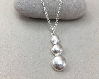 Sterling Silver Triple Pebble Necklace, British Silver Nugget Pendant, Handmade Silver 30th Birthday Necklace, Recycled Silver Pendant