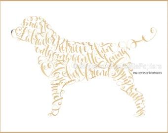 Labrador Retriever Portrait personnalisé animaux peinture laboratoire Memorial impression jaune laboratoire chocolat laboratoire chien Art Lovers chien amoureux des animaux cadeau