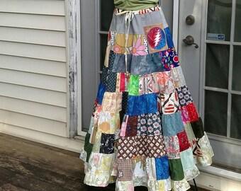 Tiered Maxi Skirt Hippie Patchwork grateful dead bolt stealie pocket Vintage Fabric Spinny maxi Skirt Festival hooping hemp