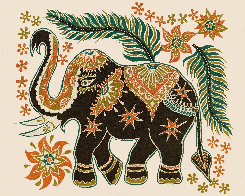 Suzani Elephant Caravan Fabric India Batik Collage Print Boho ...