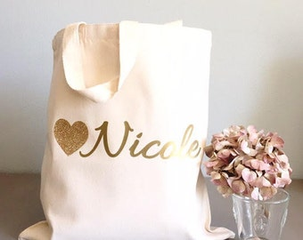 Custom tote bags - Tote bags - Glitter Heart tote bags - Bridal party tote bag - Bridesmaid thank you gift
