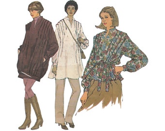 Loose Fitting Pullover Jacket, Tunic or Top and Tie Belt Simplicity 8619 Tucked Shoulders Size 10-12 Bust 32-34 Uncut 1970s Sewing Pattern
