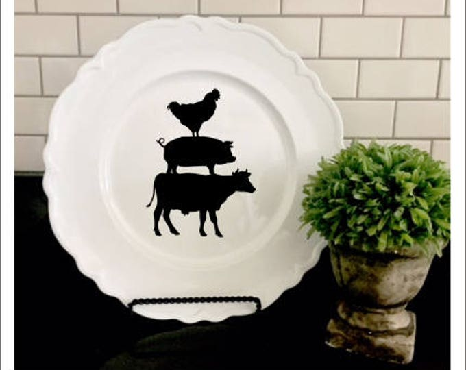 Decal Only-Farmhouse Decal -Cow Pig Chicken Vinyl Decor- Rustic Decor- Farmhouse- Kitchen Various Sizes- DIY Lettering
