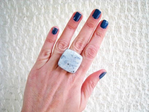 Marble ring, white stone ring, white resin ring, stone imitation, faux granite - faux marble ring, modern minimalist, big chunky square ring
