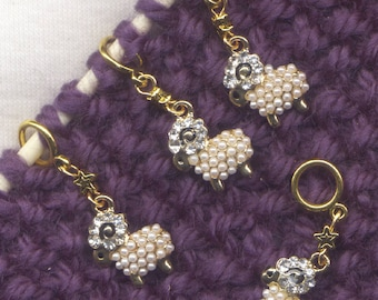 Sheep Knitting Stitch Markers Pearls Rhinestones Enameled Merino Flock Gold Set of 4 /SM01F