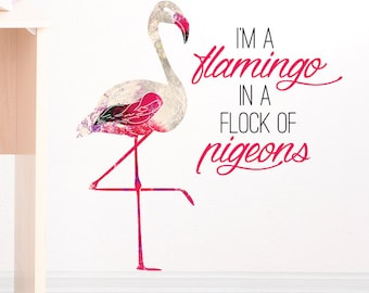 Flamingo in a Flock Of Pigeons Removable Wall Sticker