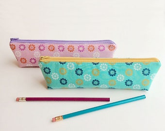 Cute Pencil Case Kids School Supplies Polka Dot Zip Pouch Floral Pencil Pouch Teacher Gift Set of Two Gift for Mom