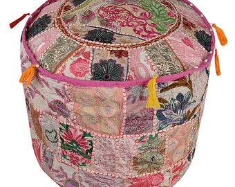 """22"""" Vintage Embroidered Patchwork Cotton Pouf Cover Home Decor Ottoman Foot Stool"""