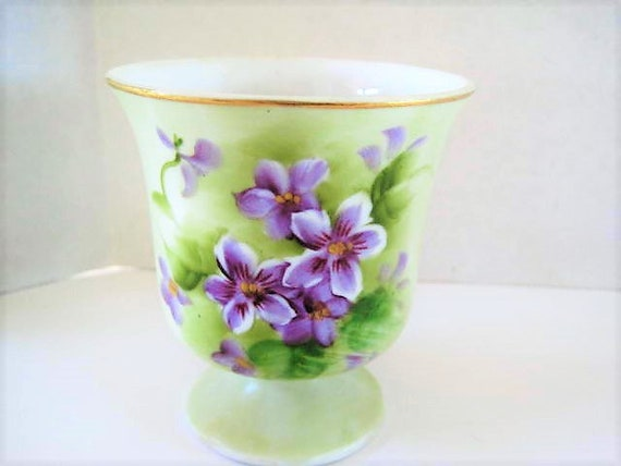 Enesco African Violet Vase, Small Size, Green Background, Gilt Edge, Collectible Footed Vase