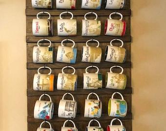 Wall Mounted Coffee Mug holder Rack, Coffee Cup Holder,  Coffee Mug/Cup Display,  Shelf Storage Farmhouse Rustic Coffee Mug Rack Starbucks