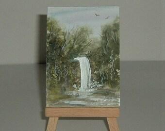 original art aceo waterfall painting (ref E209)